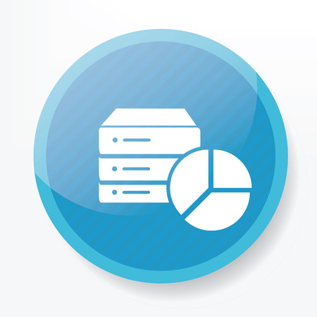 blue button: Database icon on blue button