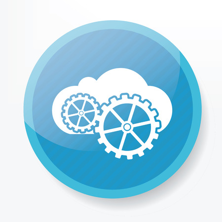 public folder: Cloud computing icon on blue button,clean vector Illustration