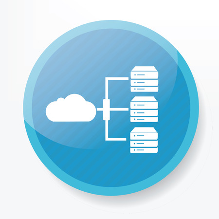 blue button: Cloud computing,Database icon on blue button