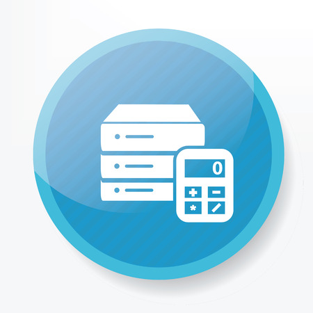 Database icon on blue button Vector