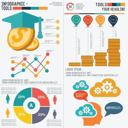 dinero: Educación diseño infográfico sobre fondo blanco