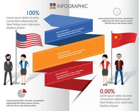chinese american: American and Chinese and businessman info graphic design,clean vector