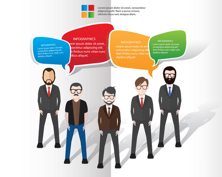 Speech bubbles design with characters on white background Illustration