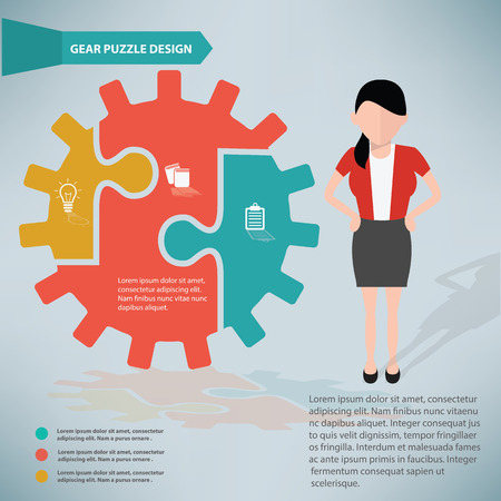 Gear puzzle and businessman info graphic design,clean vector Vector