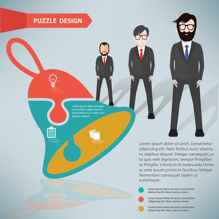 Bell puzzle info graphic design and character,clean vector Vector