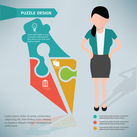 Vector puzzle info graphic design and character,clean vector Vector