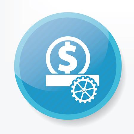 money symbol on blue flat button