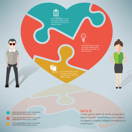 yellowrn: Heart puzzle design,info graphic design and character,clean vector