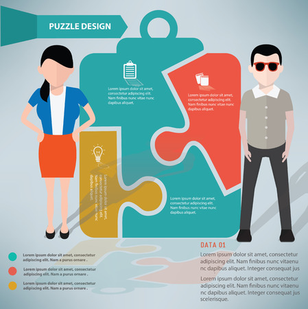 Document puzzle info graphic design and character,clean vector