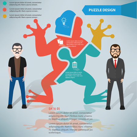 Frog puzzle info graphic design and character,clean vector