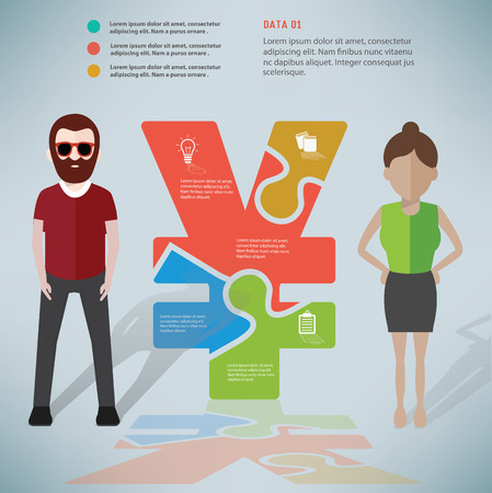 rnabstract: Financial puzzle info graphic design and character,clean vector Illustration