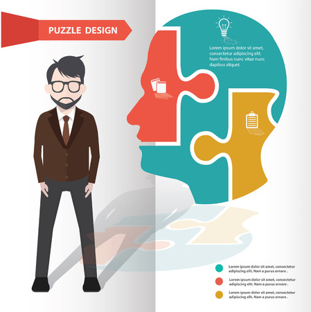 brain puzzle: Brain puzzle info graphic design and character,clean vector