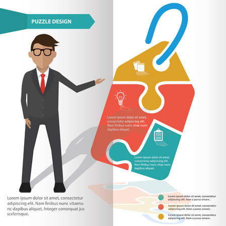 Tag puzzle info graphic design and character,clean vector Vector