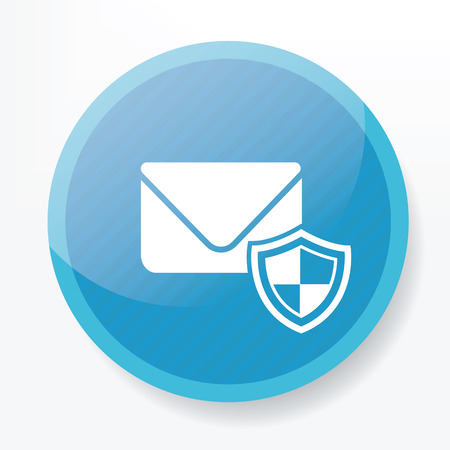 email security: Email security on blue flat button