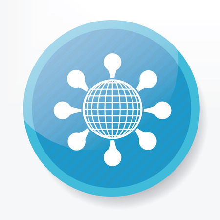 Global connection on blue flat button,clean vector Vector
