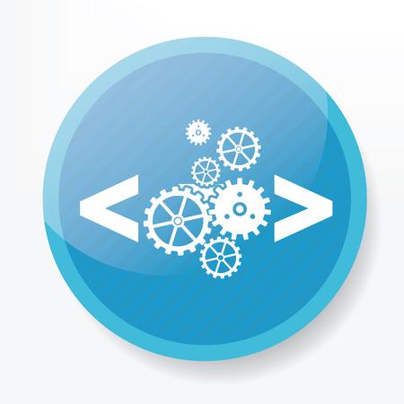 stylesheet: Coding quality icon on blue button Illustration