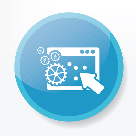 blue button: Pay per click icon on blue button