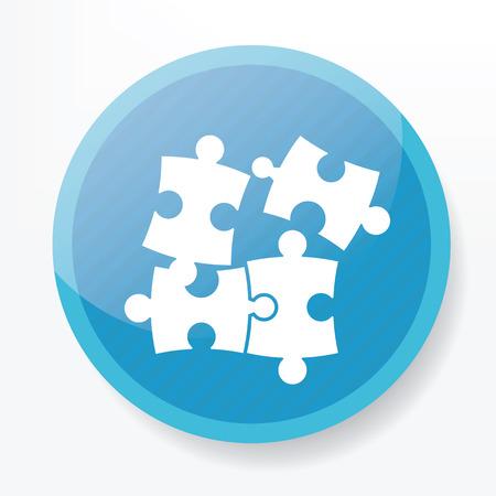 blue button: Puzzle on blue button Illustration