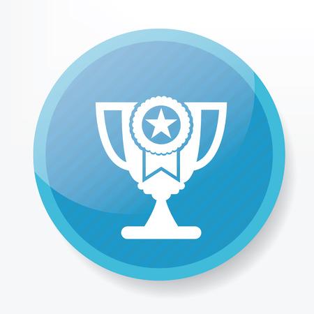 Trophy symbol design on blue button Vector