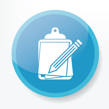 autographing: Contract symbol design on blue button Illustration