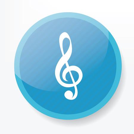 trill: Music symbol design on blue button