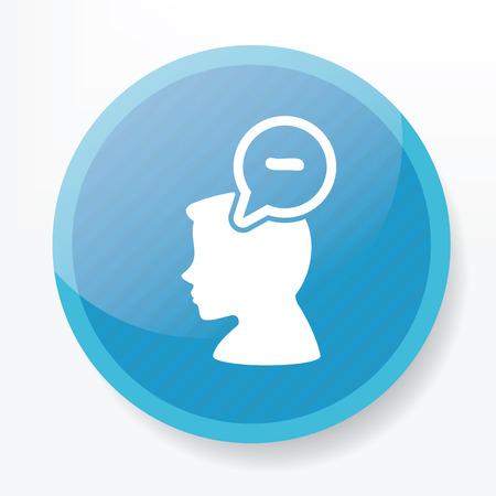negative thinking: Conception de la pens�e n�gative sur le bouton plat bleu