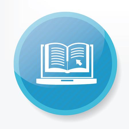 e magazine: E-learning design on blue flat button