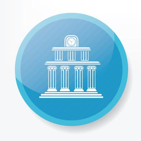 multilevel: School design on blue flat button