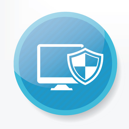 blue button: Computer security on blue button