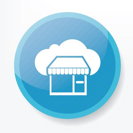 blue button: Cloud shopping on blue button