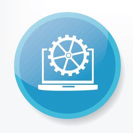 blue button: Laptop on blue button