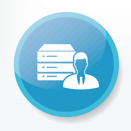 ADMIN: Database and admin on blue button,clean vector