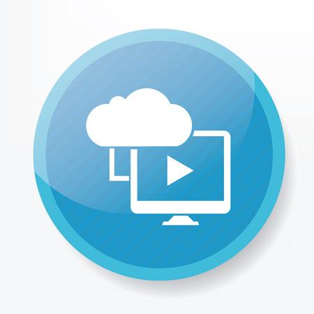 blue button: Cloud computing on blue button