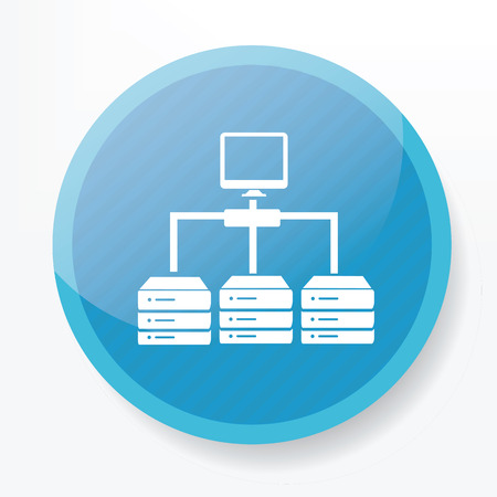 database icon: Database icon on blue button,clean vector Illustration