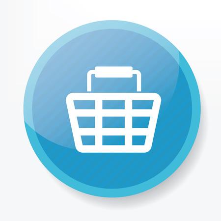 rnart: Basket on blue flat button,clean vector Illustration