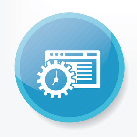 application software: Software icon on blue button,clean vector Illustration