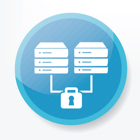 cylinder lock: Lock Database icon on blue button,clean vector Illustration