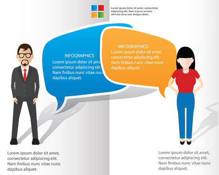 black lady talking: Speech bubbles and businessman info graphic design,clean vector