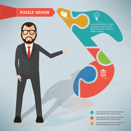 the song: Song puzzle infographic design and character Illustration
