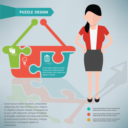 Basket puzzle info graphic design and character Vector