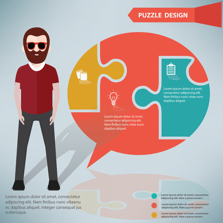 Speech puzzle info graphic design and character Vector