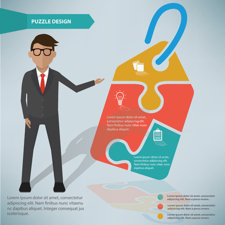Tag puzzle infographic design and character Vector