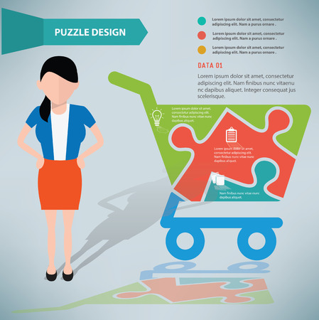 Basket puzzle info graphic design and character,clean vector Vector