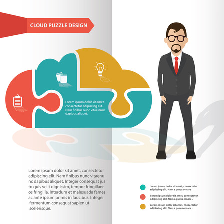 wallpaperrn: Cloud puzzle and businessman info graphic design,clean vector Illustration