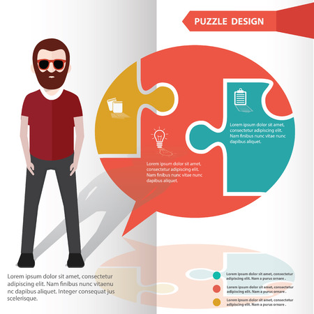 Speech puzzle info graphic design and character,clean vector Vector