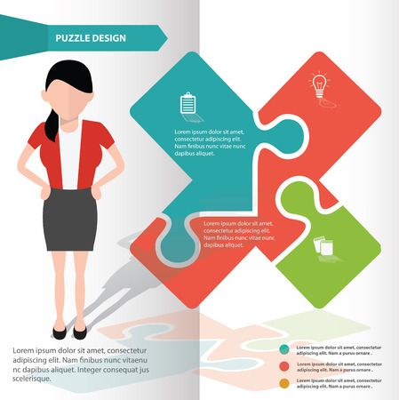 Info puzzle info graphic design and character,clean vector Vector