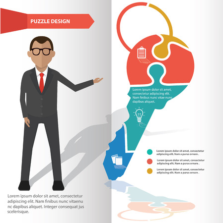 Key puzzle info graphic design and character,clean vector Vector