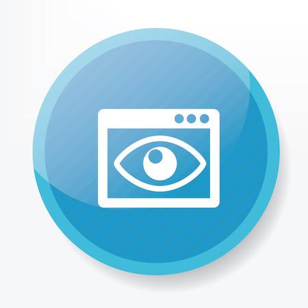 finder: Eye view finder icon on blue button,clean vector