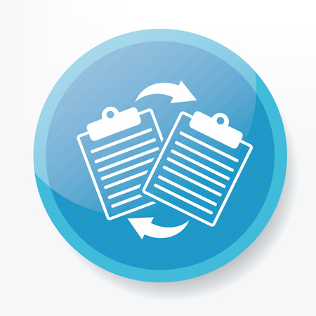 Document on blue flat button,clean vector Illustration