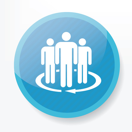 Team service icon on blue button,clean vector Illustration